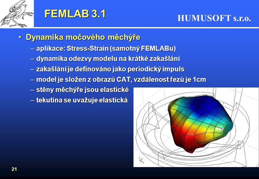 FEMLAB 3.1 Dynamika močového měchýře