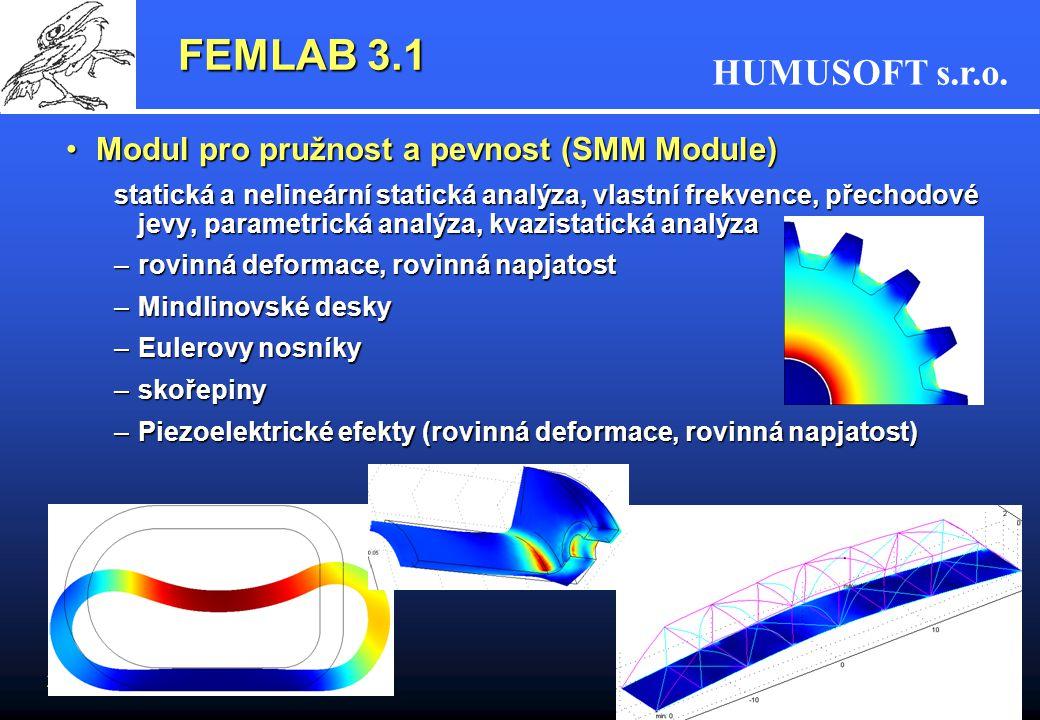 FEMLAB 3.1 Modul pro pružnost a pevnost (SMM Module)