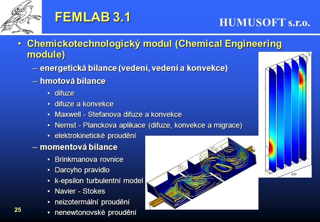 FEMLAB 3.1 Chemickotechnologický modul (Chemical Engineering module)