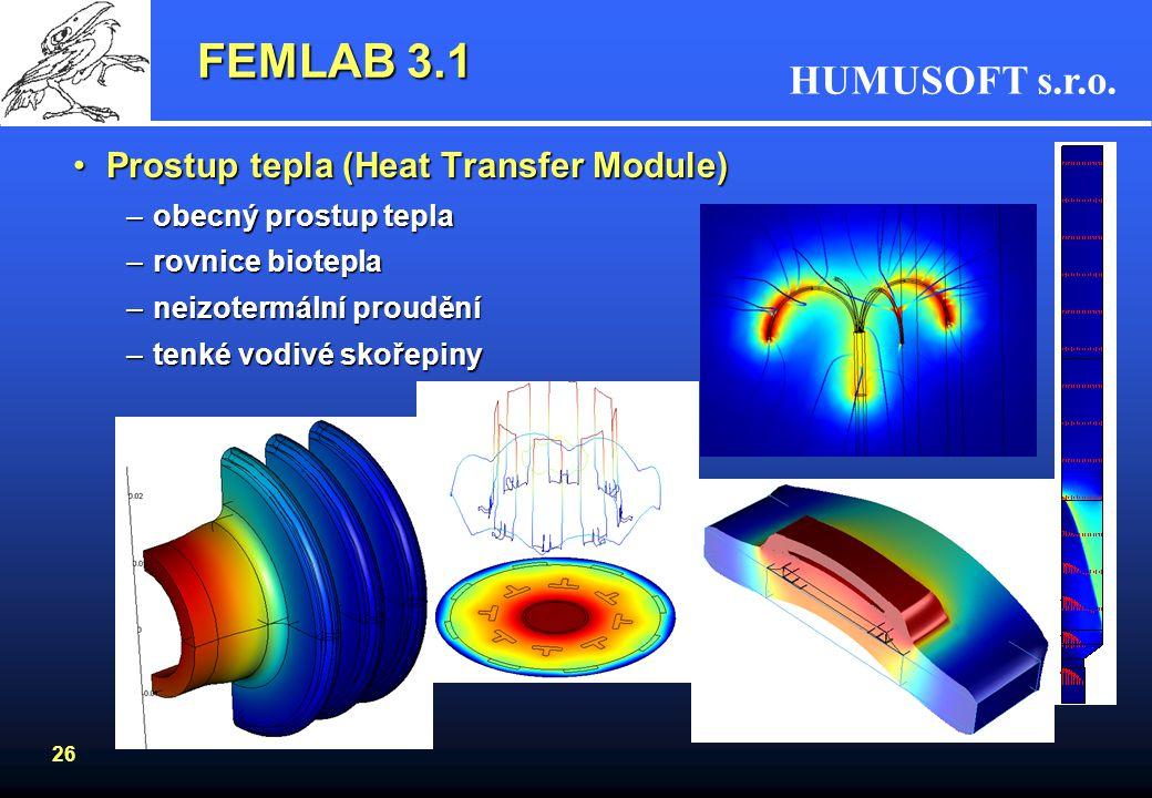 FEMLAB 3.1 Prostup tepla (Heat Transfer Module) obecný prostup tepla