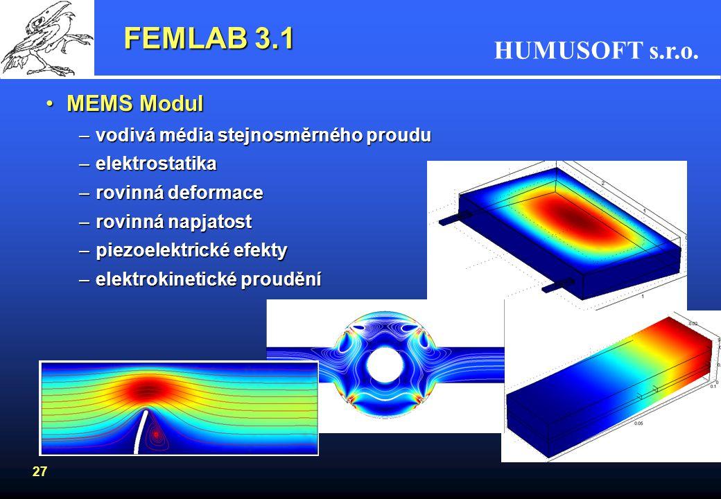 FEMLAB 3.1 MEMS Modul vodivá média stejnosměrného proudu