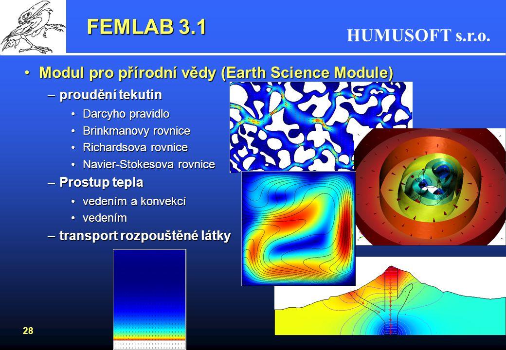 FEMLAB 3.1 Modul pro přírodní vědy (Earth Science Module)