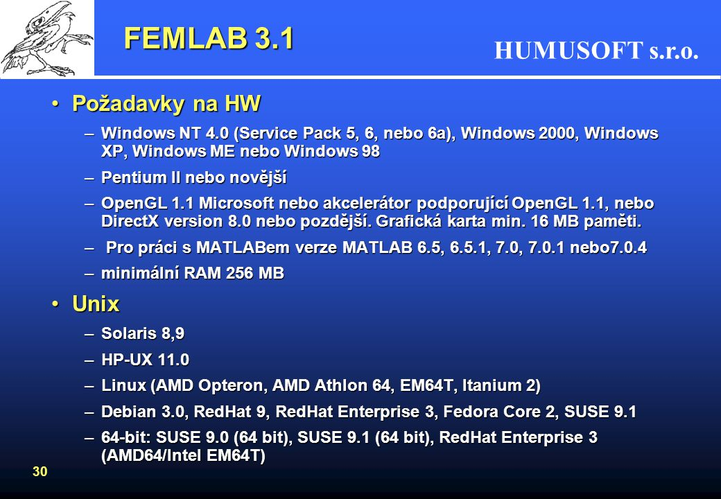 FEMLAB 3.1 Požadavky na HW Unix