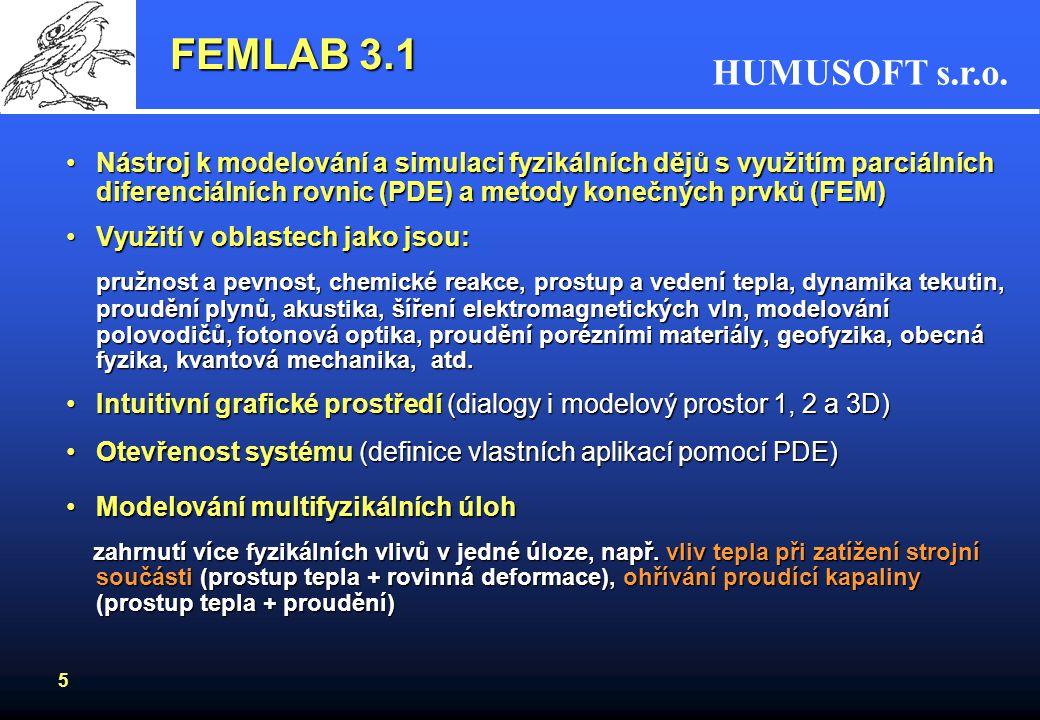 FEMLAB 3.1 Nástroj k modelování a simulaci fyzikálních dějů s využitím parciálních diferenciálních rovnic (PDE) a metody konečných prvků (FEM)