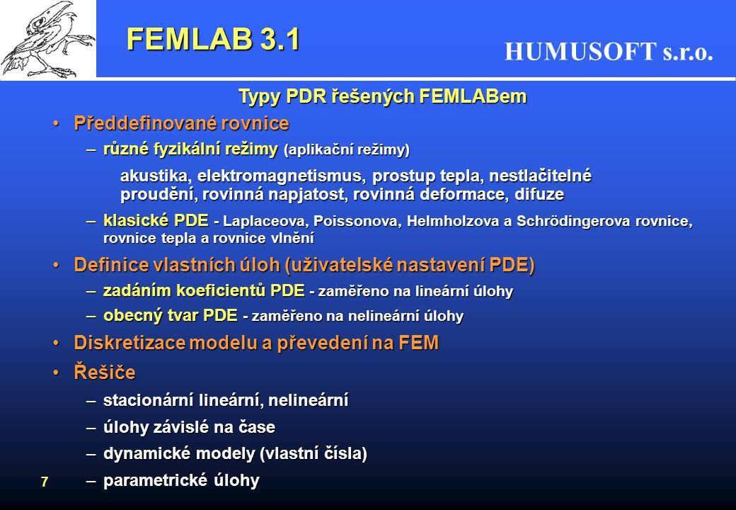 Typy PDR řešených FEMLABem
