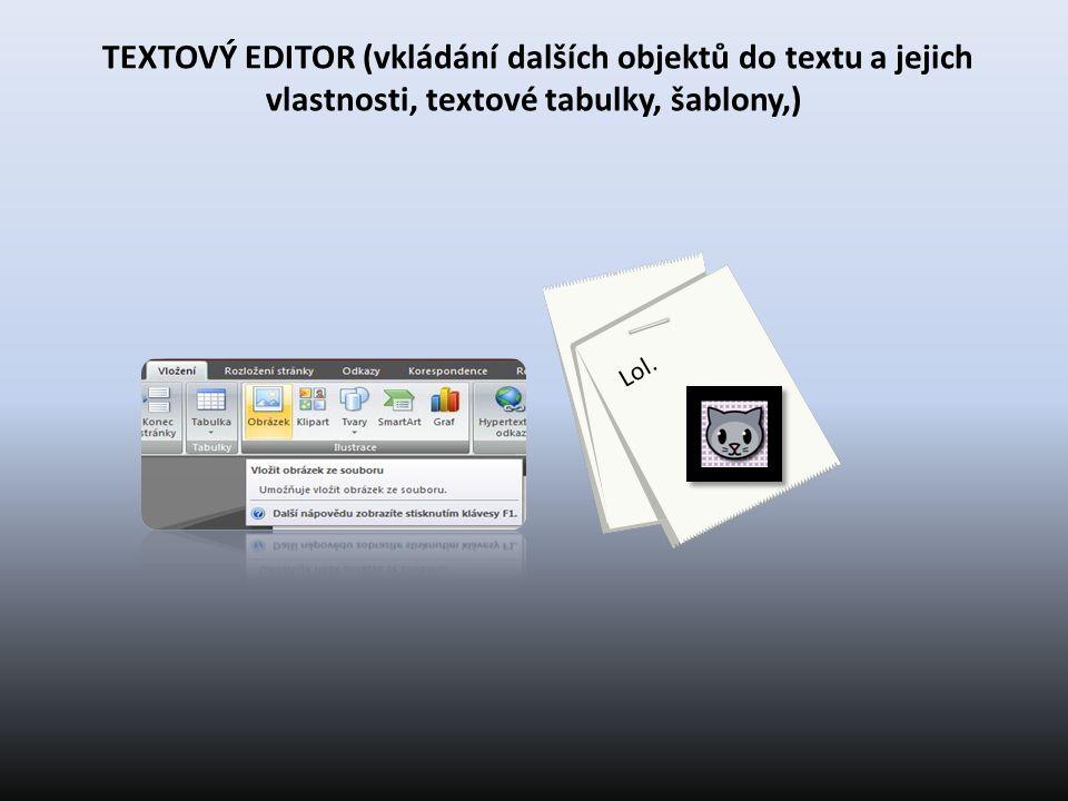TEXTOVÝ EDITOR (vkládání dalších objektů do textu a jejich vlastnosti, textové tabulky, šablony,)