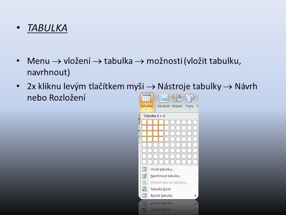 TABULKA Menu  vložení  tabulka  možnosti (vložit tabulku, navrhnout) 2x kliknu levým tlačítkem myši  Nástroje tabulky  Návrh nebo Rozložení.