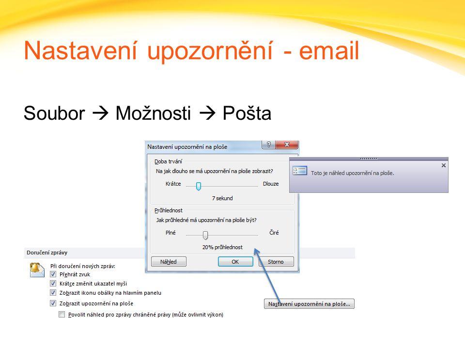 Nastavení upozornění - email