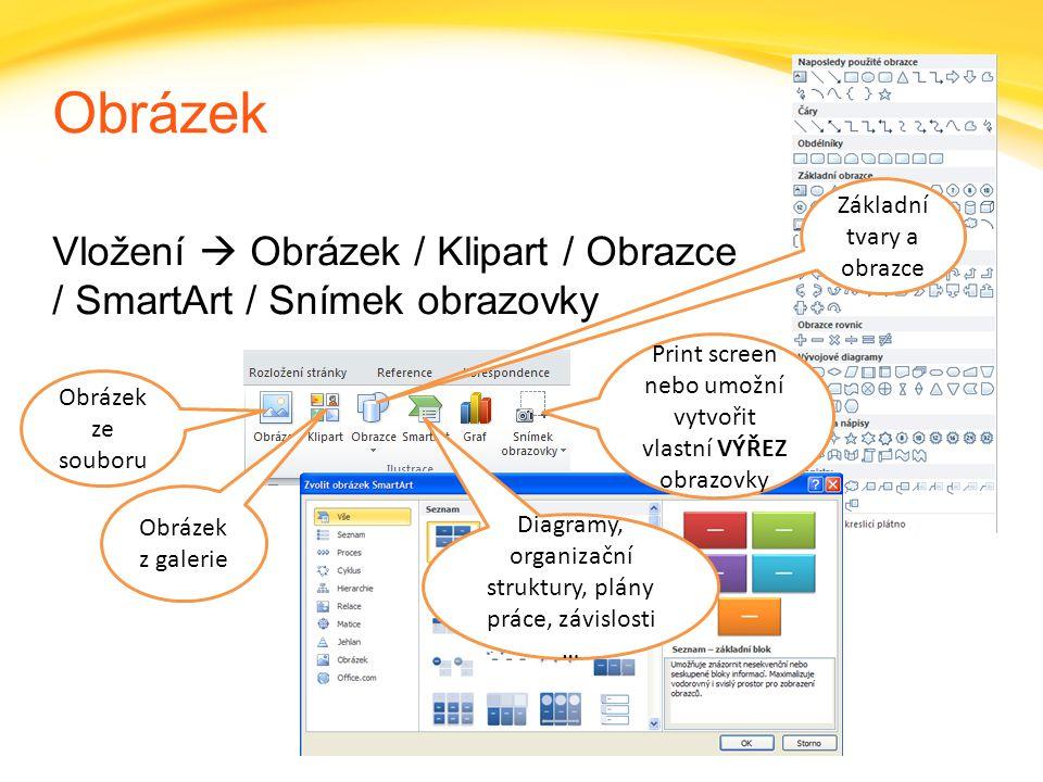 Obrázek Základní tvary a obrazce. Vložení  Obrázek / Klipart / Obrazce / SmartArt / Snímek obrazovky.