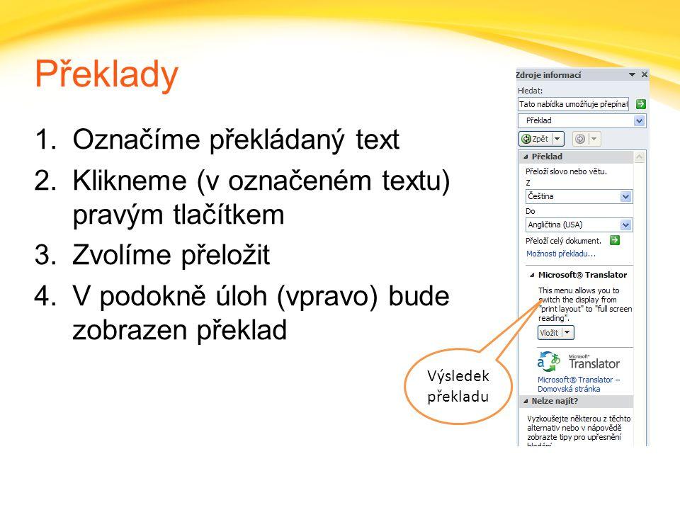 Překlady Označíme překládaný text