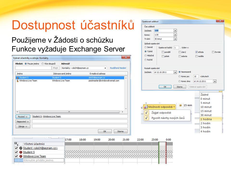 Dostupnost účastníků Použijeme v Žádosti o schůzku Funkce vyžaduje Exchange Server