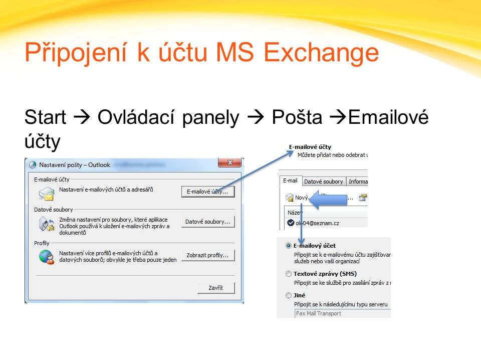 Připojení k účtu MS Exchange