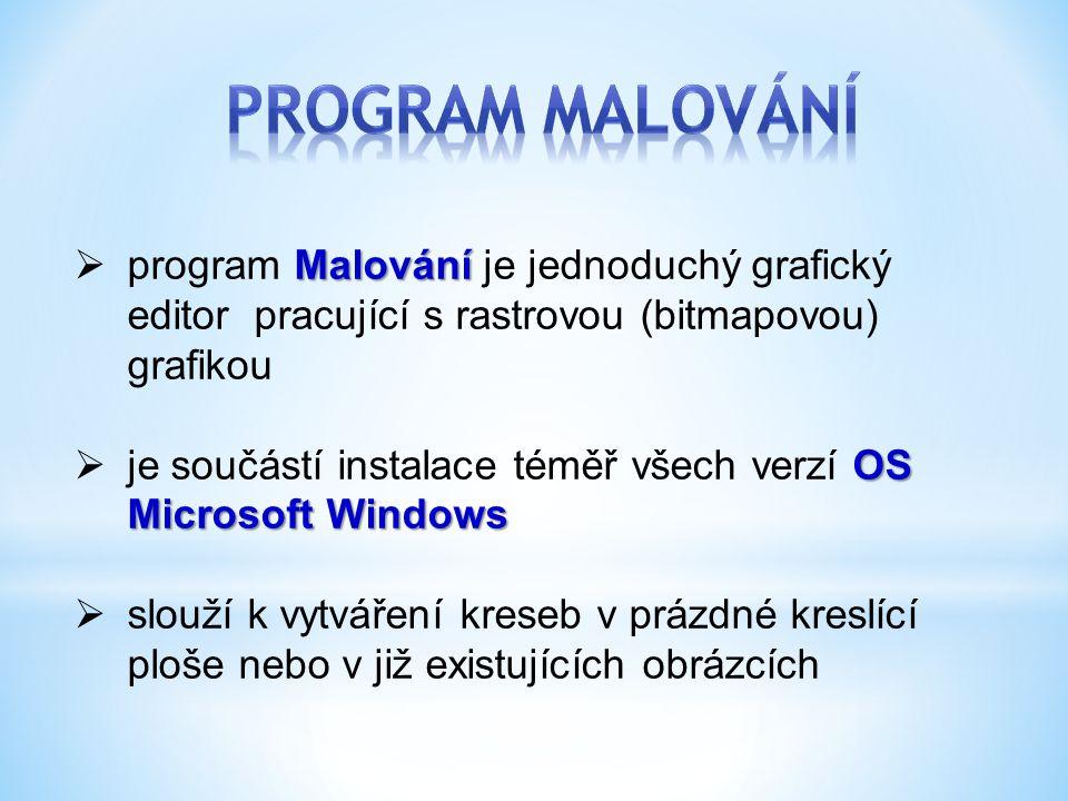 PROGRAM MALOVÁNÍ program Malování je jednoduchý grafický editor pracující s rastrovou (bitmapovou) grafikou.
