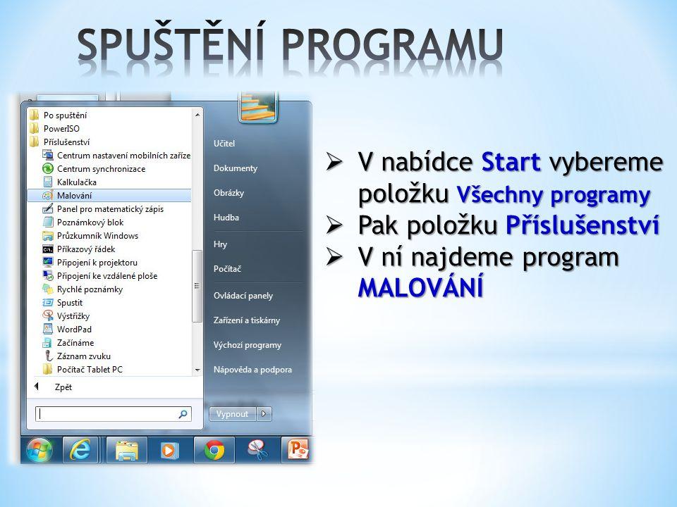 SPUŠTĚNÍ PROGRAMU V nabídce Start vybereme položku Všechny programy