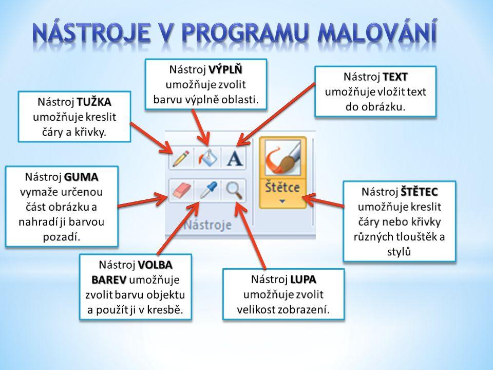 Nástroje v programu MALOVÁNÍ