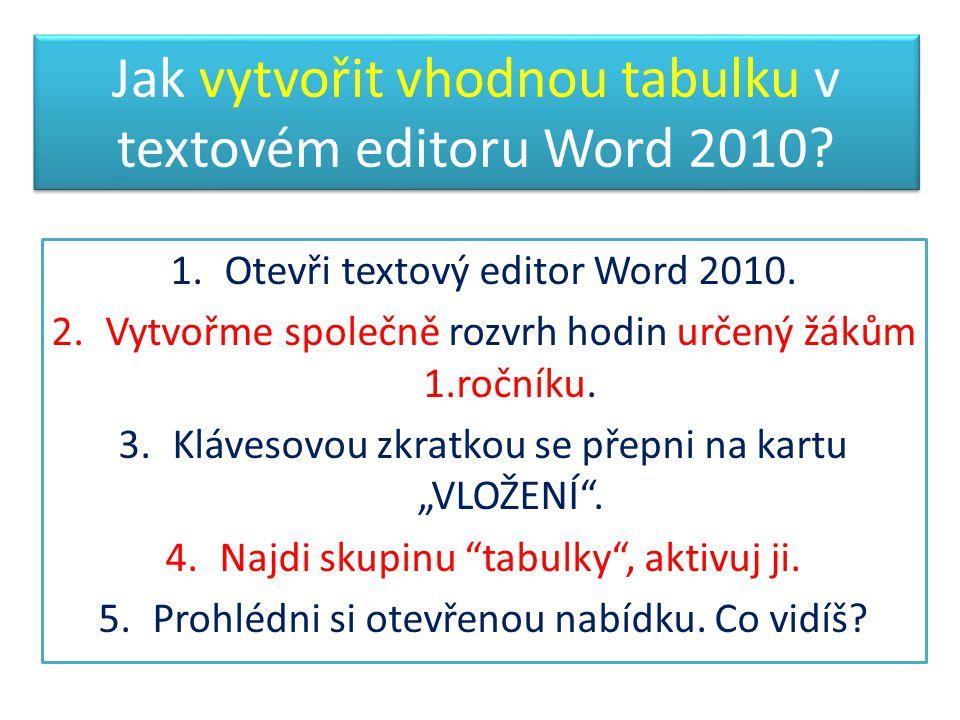 Jak vytvořit vhodnou tabulku v textovém editoru Word 2010