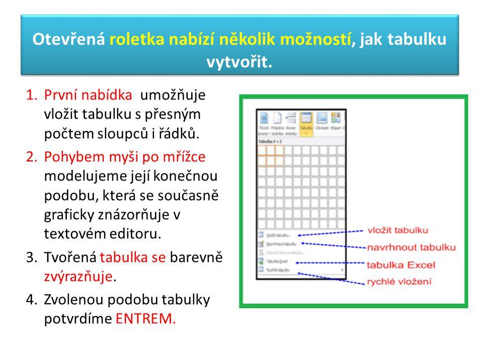 Otevřená roletka nabízí několik možností, jak tabulku vytvořit.