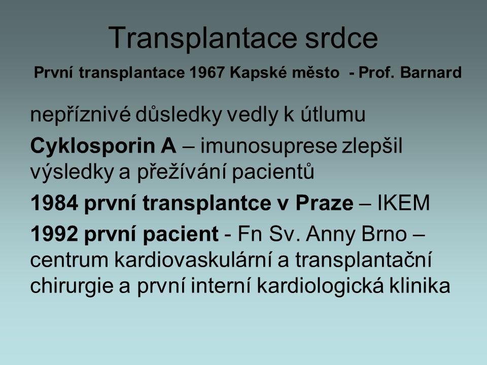 Transplantace srdce nepříznivé důsledky vedly k útlumu