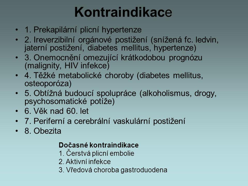 Kontraindikace 1. Prekapilární plicní hypertenze