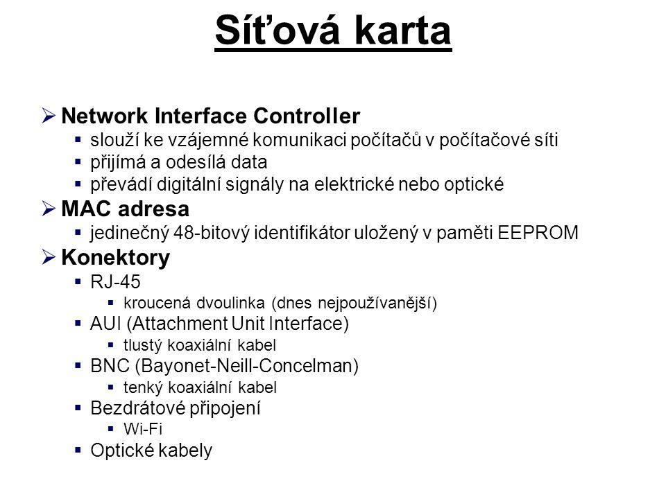 Síťová karta Network Interface Controller MAC adresa Konektory