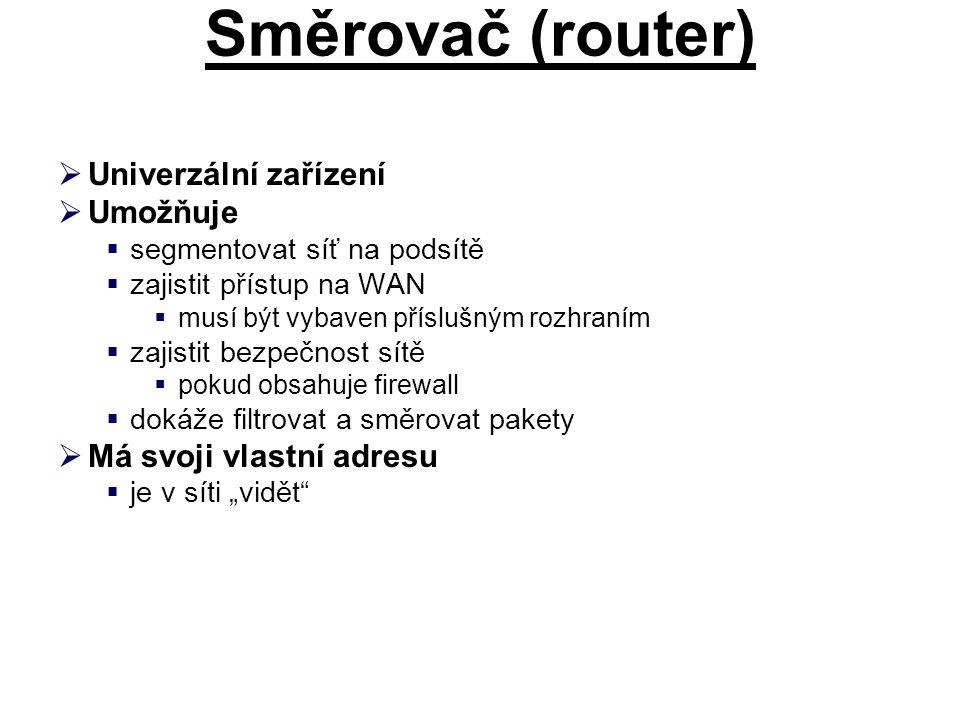 Směrovač (router) Univerzální zařízení Umožňuje