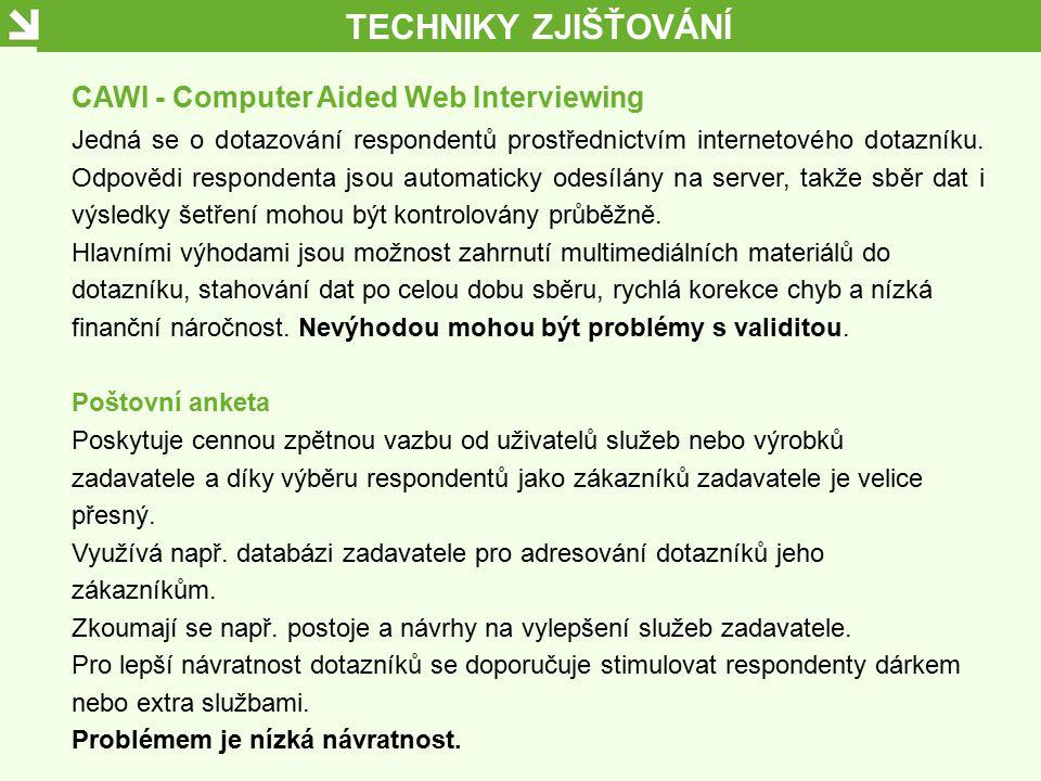TECHNIKY ZJIŠŤOVÁNÍ CAWI - Computer Aided Web Interviewing