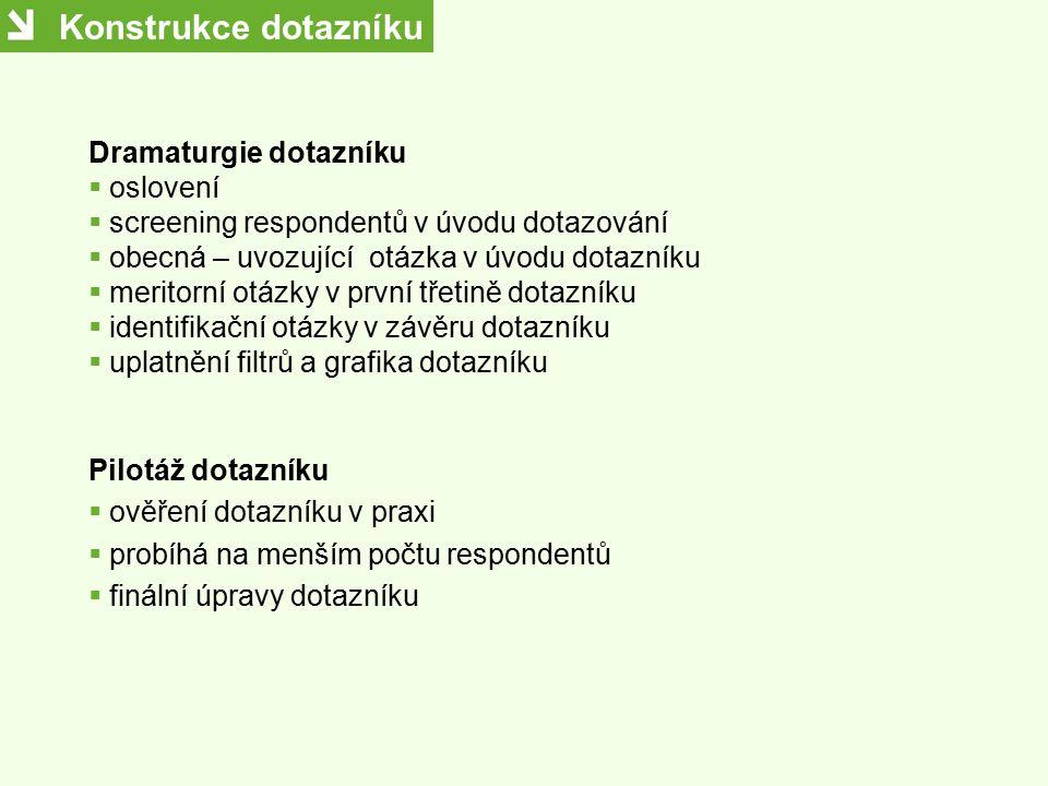 Konstrukce dotazníku Dramaturgie dotazníku oslovení