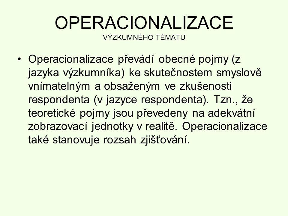 OPERACIONALIZACE VÝZKUMNÉHO TÉMATU