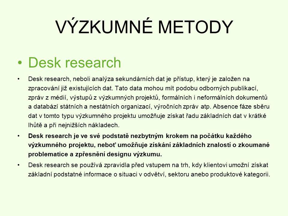 VÝZKUMNÉ METODY Desk research