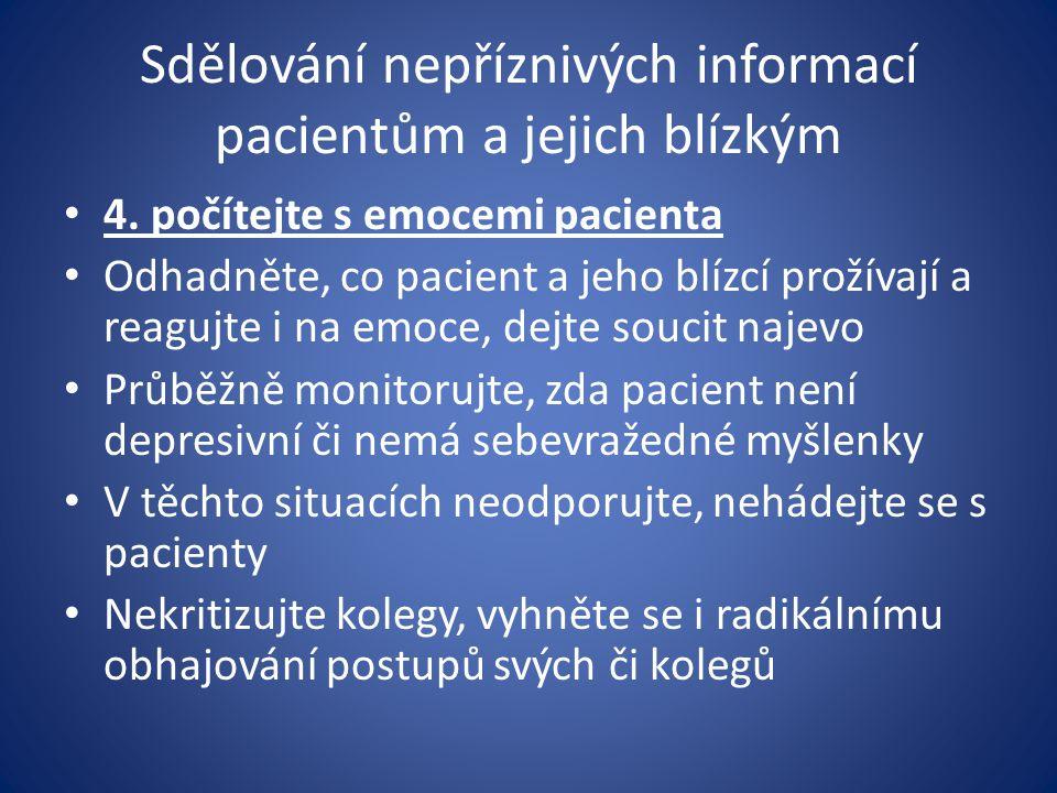 Sdělování nepříznivých informací pacientům a jejich blízkým