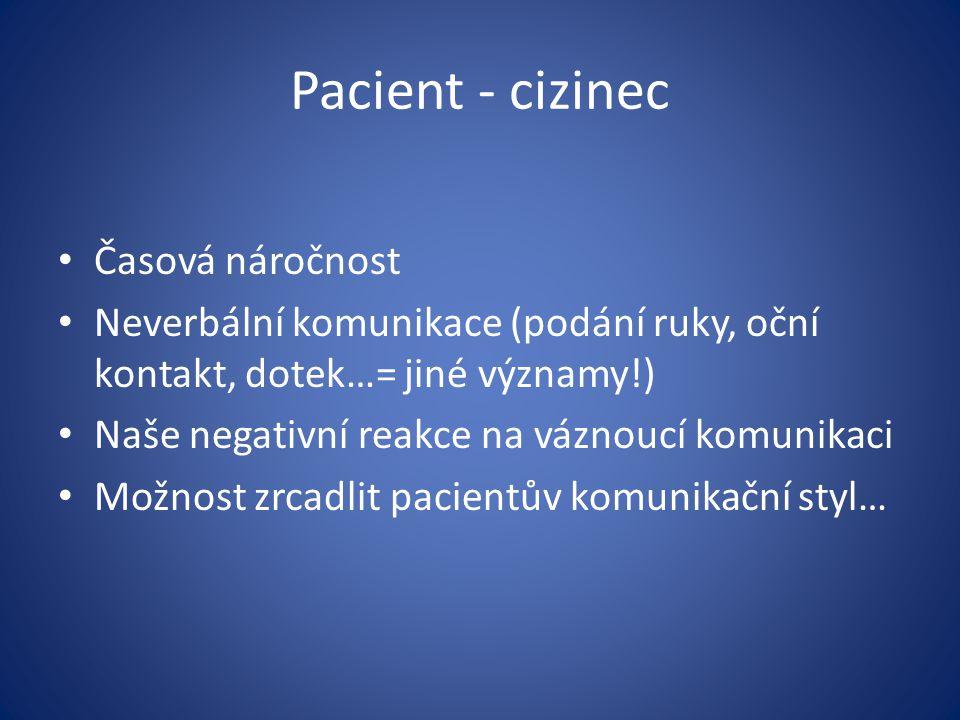 Pacient - cizinec Časová náročnost