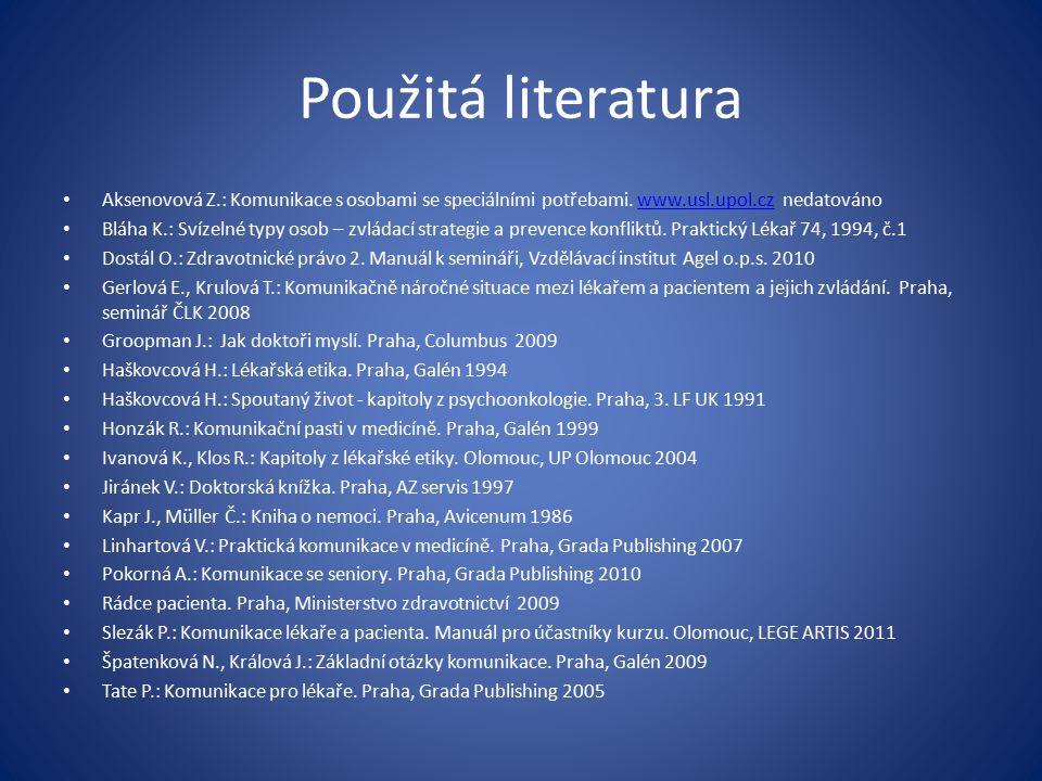 Použitá literatura Aksenovová Z.: Komunikace s osobami se speciálními potřebami. www.usl.upol.cz nedatováno.