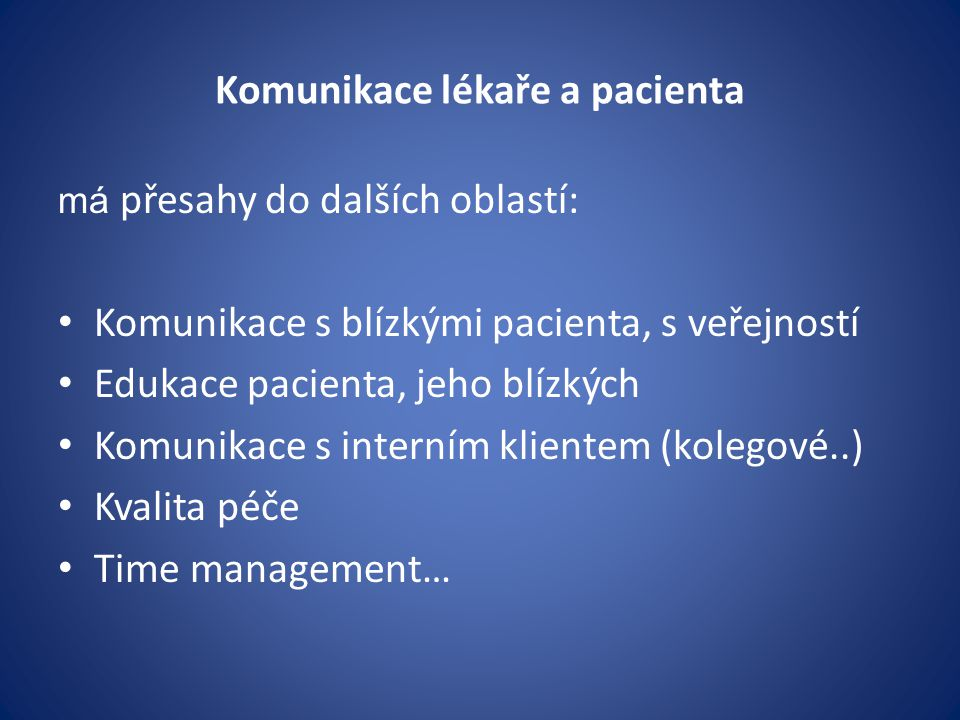 Komunikace lékaře a pacienta