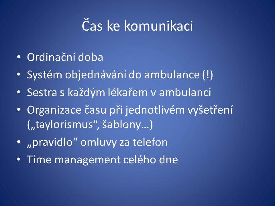 Čas ke komunikaci Ordinační doba Systém objednávání do ambulance (!)