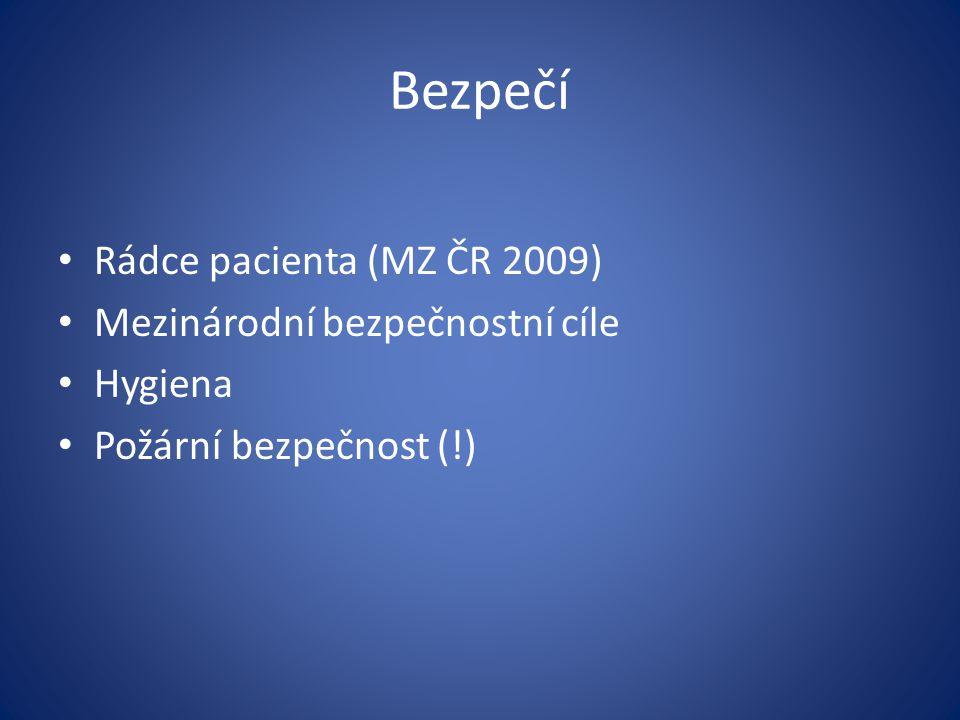 Bezpečí Rádce pacienta (MZ ČR 2009) Mezinárodní bezpečnostní cíle