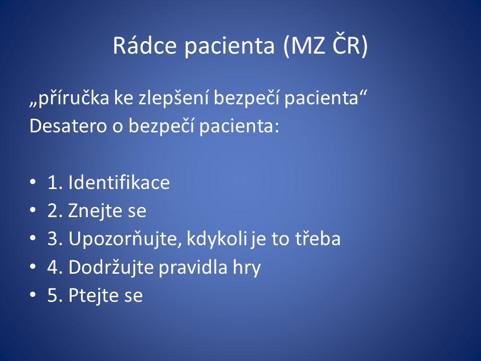 """Rádce pacienta (MZ ČR) """"příručka ke zlepšení bezpečí pacienta"""