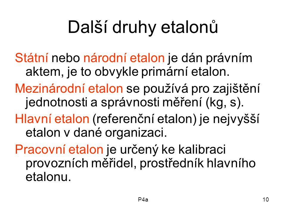 Další druhy etalonů Státní nebo národní etalon je dán právním aktem, je to obvykle primární etalon.