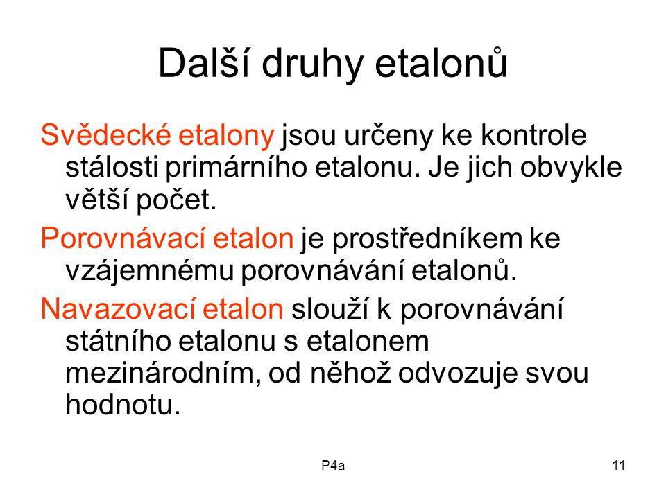 Další druhy etalonů Svědecké etalony jsou určeny ke kontrole stálosti primárního etalonu. Je jich obvykle větší počet.