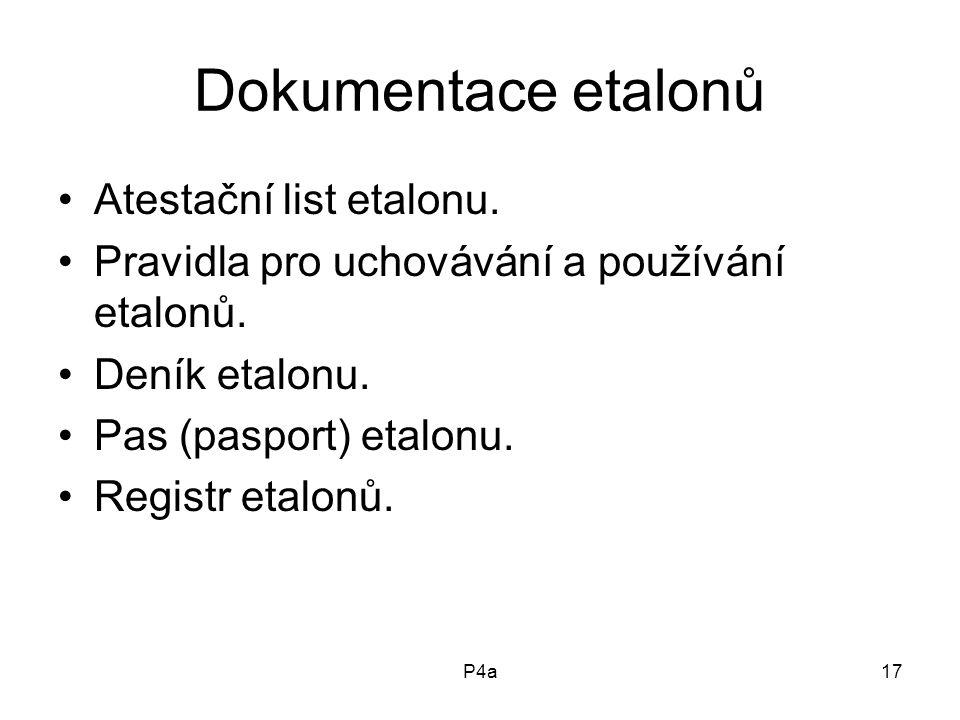 Dokumentace etalonů Atestační list etalonu.