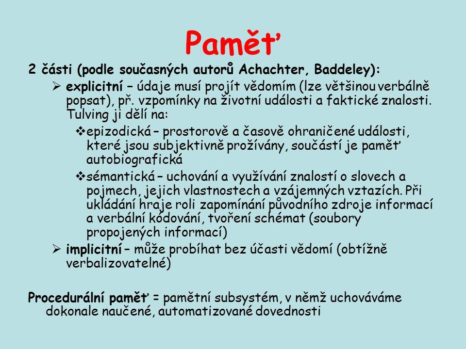Paměť 2 části (podle současných autorů Achachter, Baddeley):