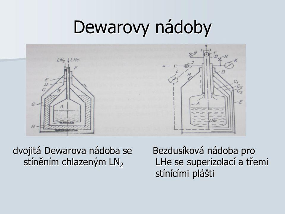 Dewarovy nádoby dvojitá Dewarova nádoba se Bezdusíková nádoba pro stíněním chlazeným LN2 LHe se superizolací a třemi stínícími plášti.