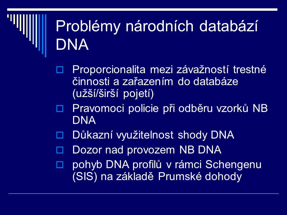 Problémy národních databází DNA