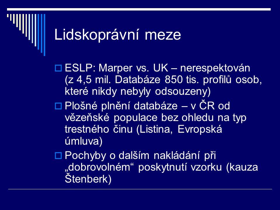 Lidskoprávní meze ESLP: Marper vs. UK – nerespektován (z 4,5 mil. Databáze 850 tis. profilů osob, které nikdy nebyly odsouzeny)