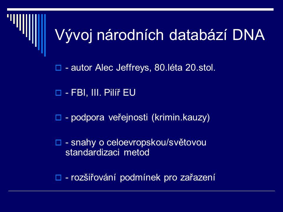 Vývoj národních databází DNA
