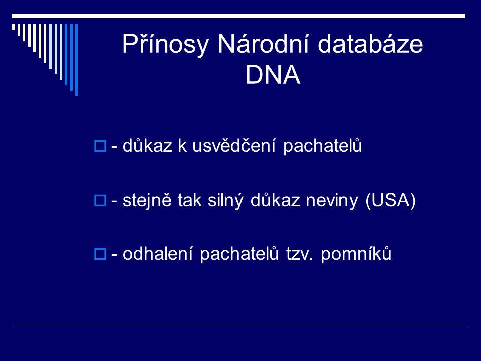 Přínosy Národní databáze DNA