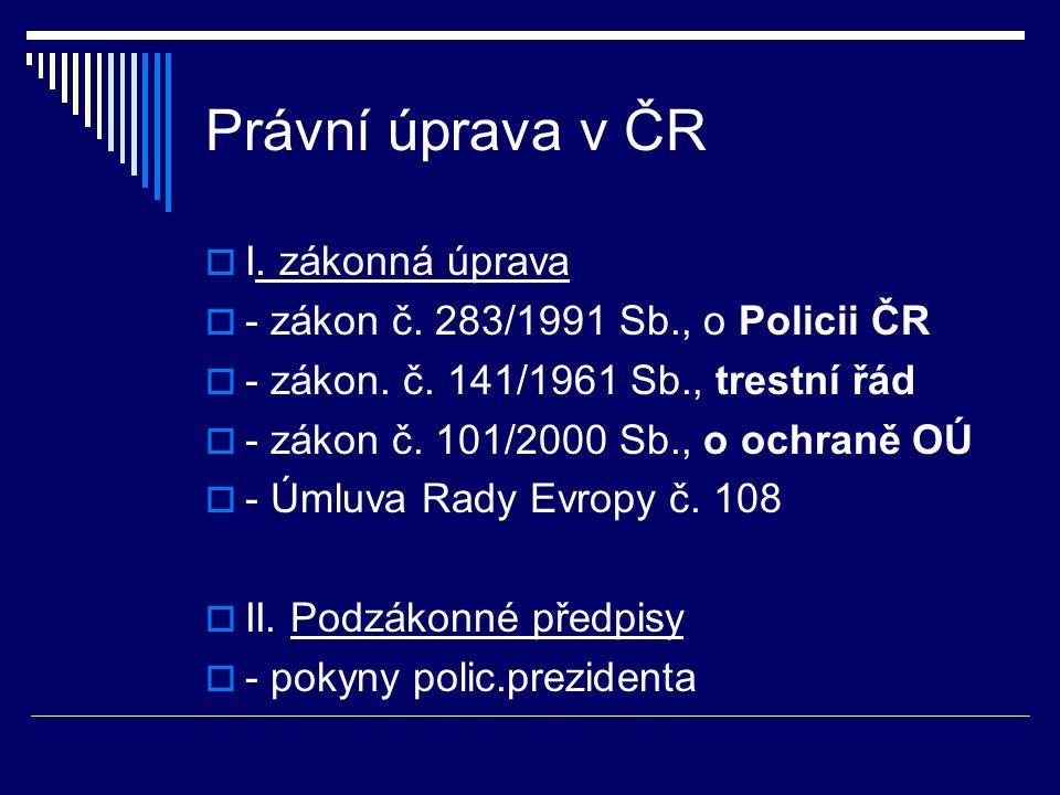 Právní úprava v ČR I. zákonná úprava
