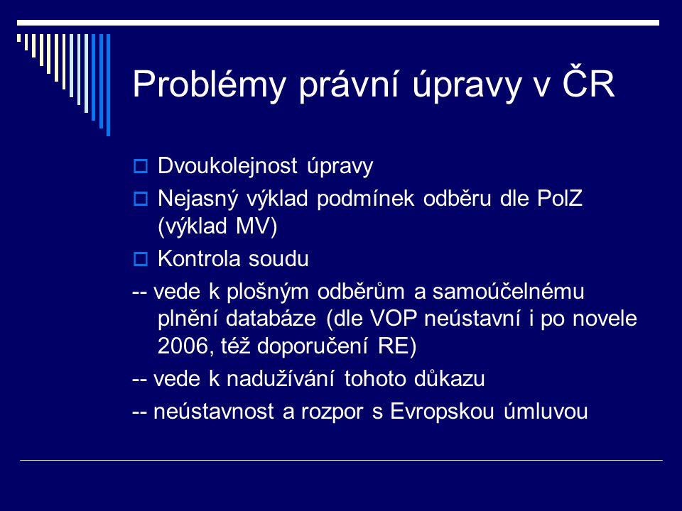 Problémy právní úpravy v ČR