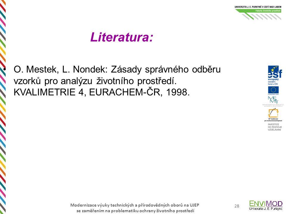 Literatura: O. Mestek, L. Nondek: Zásady správného odběru vzorků pro analýzu životního prostředí.