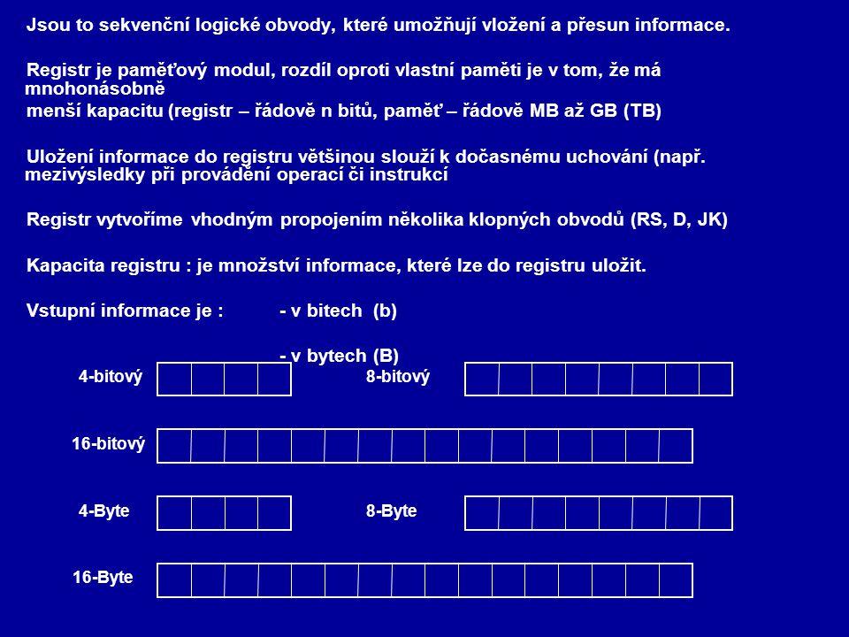 menší kapacitu (registr – řádově n bitů, paměť – řádově MB až GB (TB)