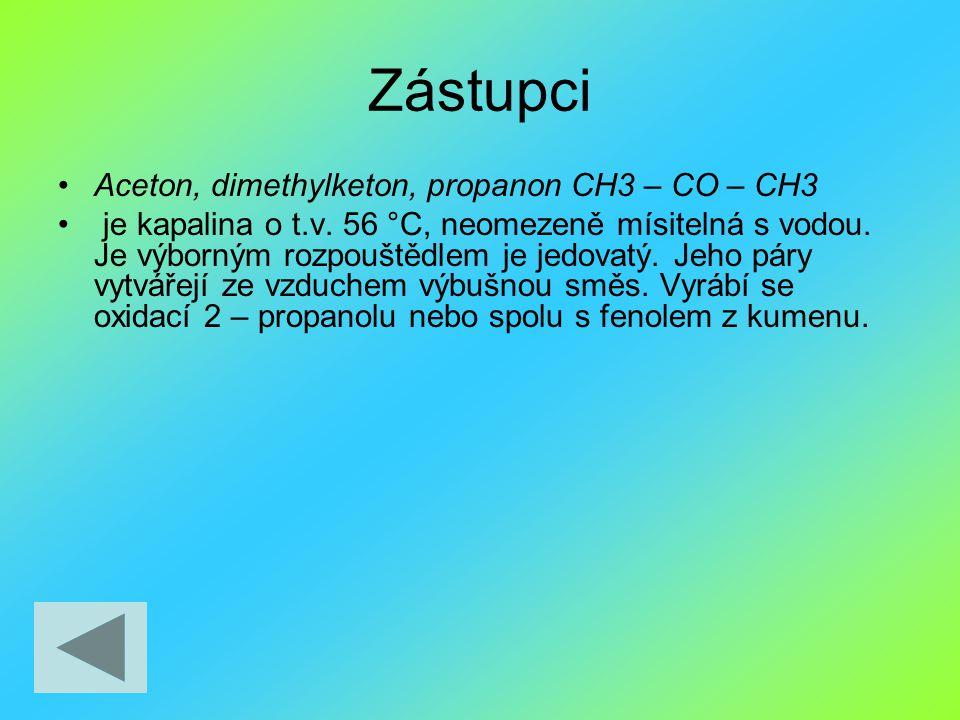 Zástupci Aceton, dimethylketon, propanon CH3 – CO – CH3